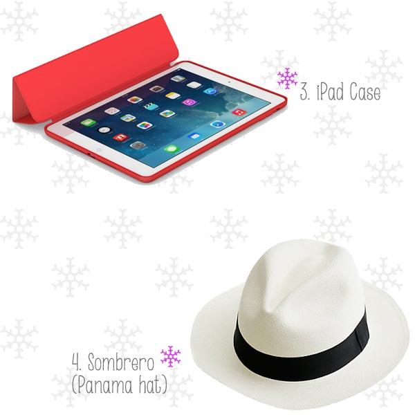 Estuche para iPad y sombrero tipo panamá